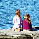 Little Girls Fishing by Glenna Walker