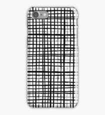 Essie - Grid, Black and White, BW, grid, square, paint, design, art iPhone Case/Skin