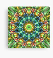 Green Spectral Mandala Abstract Canvas Print