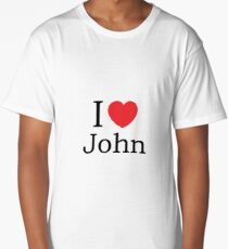 I Love John - With Simple Love Heart Long T-Shirt