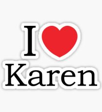 I Love Karen - With Simple Love Heart Sticker