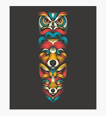 Forest Animals Totem Photographic Print