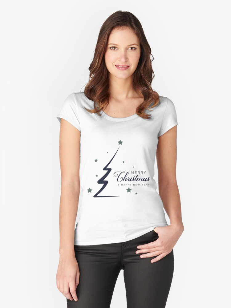 'xmas logo tree merry christmas script font ' Fitted Scoop T-Shirt by  PineLemon