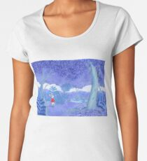 little mouse in a mysterious blue forest Women's Premium T-Shirt