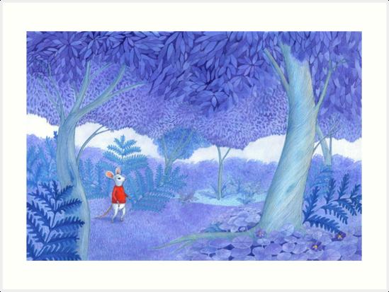 «pequeño ratón en un misterioso bosque azul» de EllenLambrichts