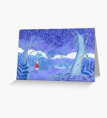 little mouse in a mysterious blue forest Greeting Card