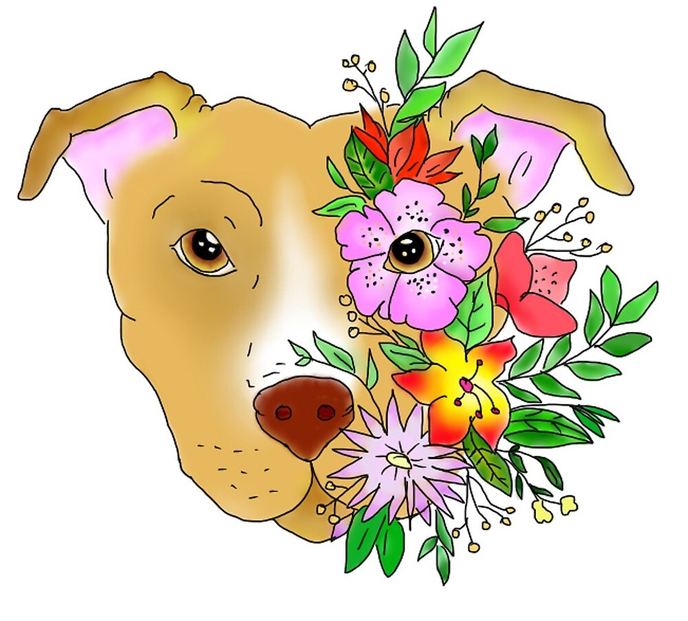 Flower Pitbull - Transparent background\