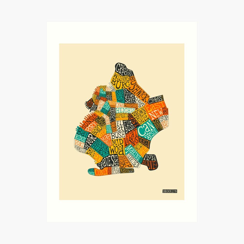 BROOKLYN NEIGHBORHOODS MAP Art Print