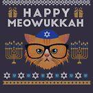 Funny Hanukkah Happy Meowukkah Hanukkat Jewish Cat by oddduckshirts