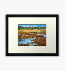 Marshlands landscape painting impressionism art Framed Print