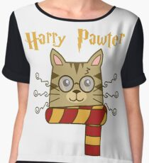 Harry Pawter Cute Cat Potter Kitten Shirt Chiffon Top