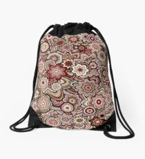Generative Art Particle Flowers, Victorian Red Drawstring Bag