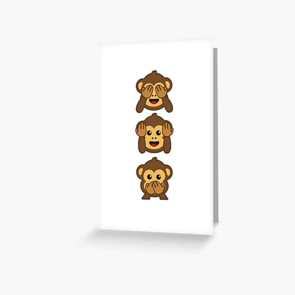 Drei weise Affen Shirt | Höre nichts Böses, Sehe nichts Böses, sprich nichts Böses Grußkarte