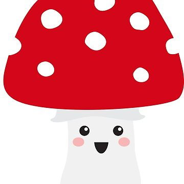 Cute kawaii mushroom stickers - red and white toadstool by MheaDesign