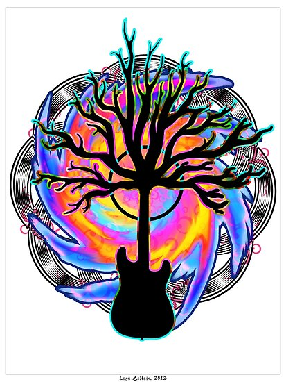 """""""Psychedelic Sonic Cyclone""""   ( surreal guitar tree art) by Leah McNeir"""