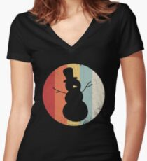 Snowman Distressed Vintage Retro Shirt Women's Fitted V-Neck T-Shirt