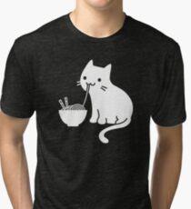 Cute Cat Eating Ramen Tri-blend T-Shirt