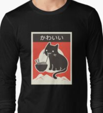 """Kawaii"" Vintage Style Japenese Ramen Cat Long Sleeve T-Shirt"