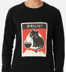 """Kawaii"" Vintage Style Japenese Ramen Cat Lightweight Sweatshirt"