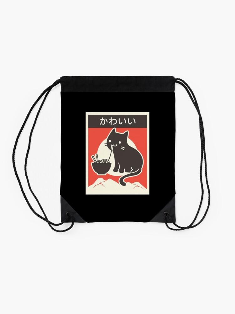 "Alternate view of ""Kawaii"" Vintage Style Japenese Ramen Cat Drawstring Bag"
