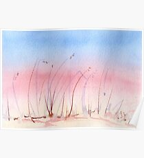 Sand Dune Grasses at Dusk - Limited Palette Watercolour Poster