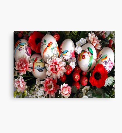 Easter eggs and flowers Canvas Print