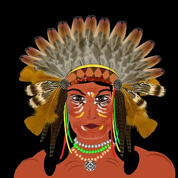 Native American Indian Chief  by Artification