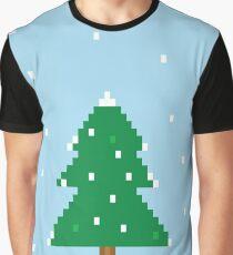 Pixel Christmas Tree Scene Graphic T-Shirt