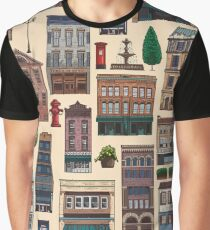 Vintage white brown architecture town pattern Graphic T-Shirt