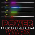 Funny Power Wars in Star Galaxy Geek Parody Lights With Sabers Fan Shirt by DesIndie