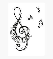 Musik, Notenschlüssel mit Klaviertasten. Fotodruck