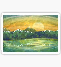 Mountain, lake and Sunset  Sticker