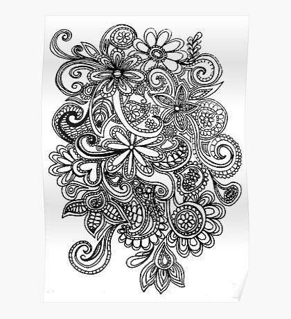 flower swirl art Poster