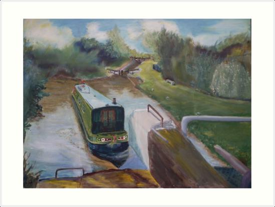 Narrowboat Approaching Lock by Peter Lythgoe