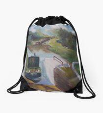 Narrowboat Approaching Lock Drawstring Bag