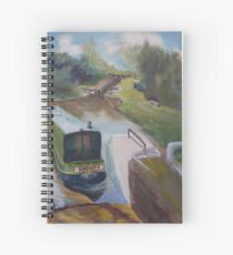 Narrowboat Approaching Lock Spiral Notebook