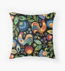 Folk Roosters Throw Pillow