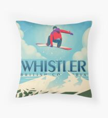"""""""Snowboard Booter"""" Whistler, BC-Reise-Plakat Kissen"""