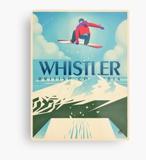 """Snowboard Booter"" Whistler, BC Travel Poster Metal Print"
