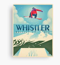 """Snowboard Booter"" Whistler, BC Travel Poster Canvas Print"