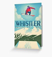 """Snowboard Booter"" Whistler, BC Travel Poster Greeting Card"