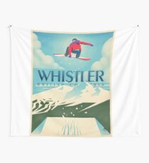 """""""Snowboard Booter"""" Whistler, BC Travel Poster Wall Tapestry"""