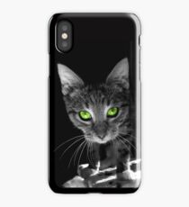 Tabby kitten with bright green eyes iPhone Case/Skin