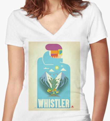 """""""Blue Bird"""" Whistler, BC Travel Poster Women's Fitted V-Neck T-Shirt"""