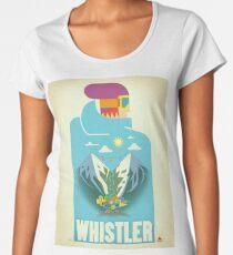"""Blue Bird"" Whistler, BC Travel Poster Women's Premium T-Shirt"
