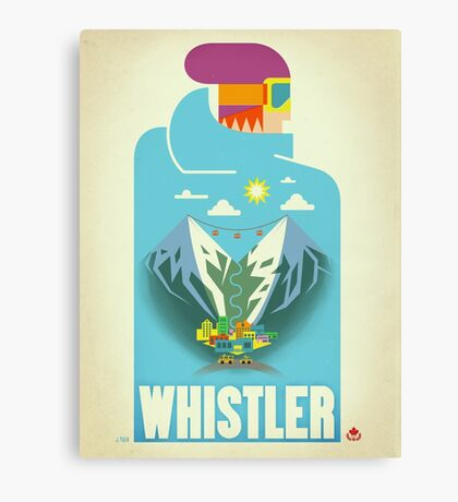 """Blue Bird"" Whistler, BC Travel Poster Canvas Print"