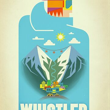 """Blue Bird"" Whistler, BC Travel Poster by Tueros"