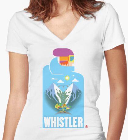 """Blue Bird"" Whistler Village Shirt Women's Fitted V-Neck T-Shirt"