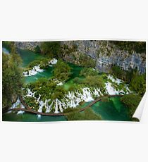 Travertine Falls and Walkway, Plitvice Lakes National Park, Croatia Poster