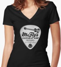 McFly's Repairs - White Women's Fitted V-Neck T-Shirt